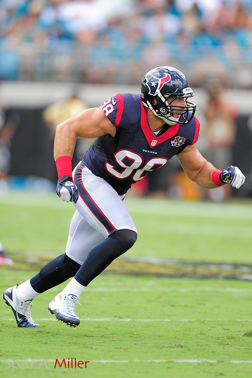 Houston Texans outside linebacker Connor Barwin (98) during the NFL game between the Texans and the Jacksonville Jaguars, at EverBank Field on September 16, 2012 in Jacksonville, Florida. The Texans won 27-7...©2012 Scott A. Miller.