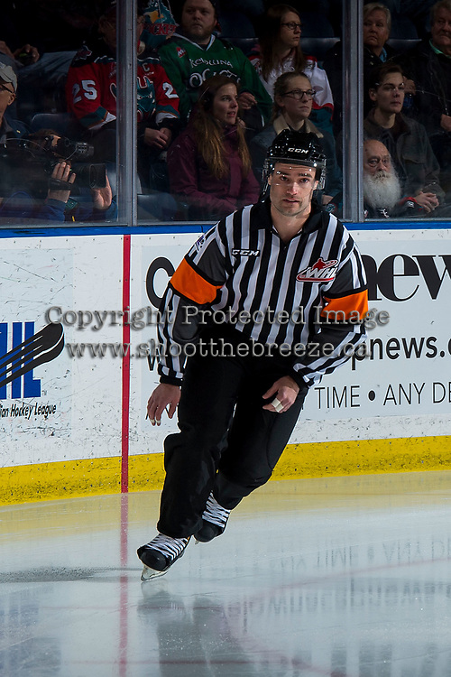 KELOWNA, CANADA - MARCH 9: Referee Ryan Benbow skates onto the ice at the Kelowna Rockets against the Kamloops Blazers  on March 9, 2019 at Prospera Place in Kelowna, British Columbia, Canada.  (Photo by Marissa Baecker/Getty Images)