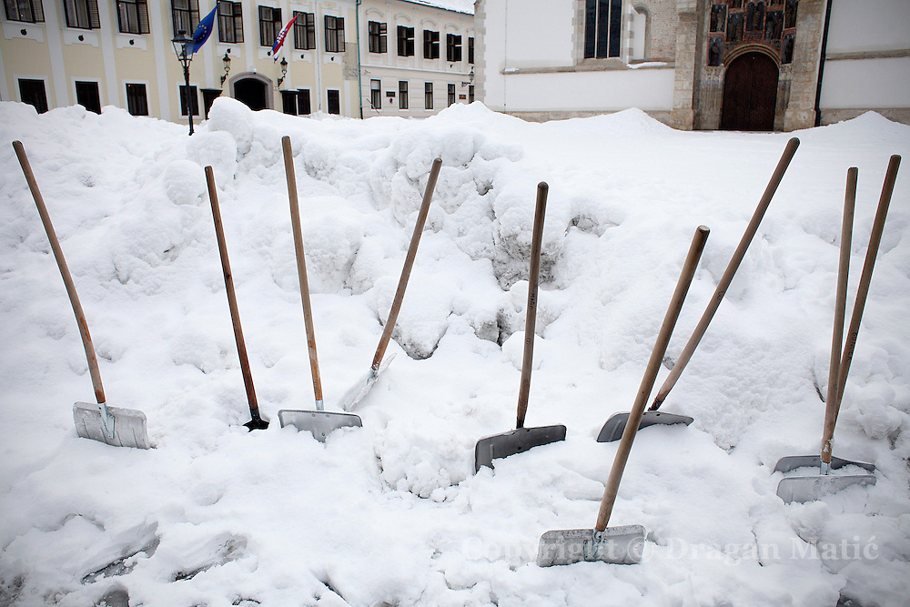 Snow shovels on St. Mark's Square.