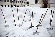 Snow shovels on St. Mark's Square.
