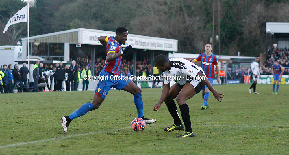 4 January 2015 FA Cup 3rd round - Dover Athletic v Crystal Palace ;  Wilfried Zaha of Palace runs with the ball.<br /> Photo: Mark Leech