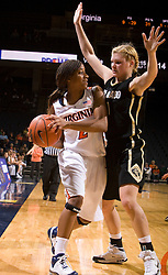 Colorado guard Alyssa Fressle (1) traps Virginia guard Whitney Edwards (2).  The #16 ranked Virginia Cavaliers women's basketball team defeated the Colorado Buffaloes 77-43 at the John Paul Jones Arena on the Grounds of the University of Virginia in Charlottesville, VA on November 24, 2008.