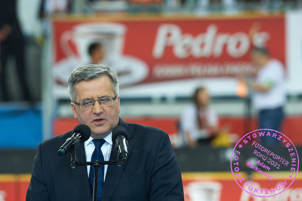 Bronislaw Komorowski - President of Poland during athletics meeting Pedro's Cup at Atlas Arena in Lodz, Poland.<br /> <br /> Poland, Lodz, February 17, 2015<br /> <br /> Picture also available in RAW (NEF) or TIFF format on special request.<br /> <br /> For editorial use only. Any commercial or promotional use requires permission.<br /> <br /> Adam Nurkiewicz declares that he has no rights to the image of people at the photographs of his authorship.<br /> <br /> Mandatory credit:<br /> Photo by &copy; Adam Nurkiewicz / Mediasport