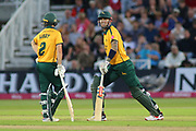 Alex Hales of Nottinghamshire Outlaws stretches his calf during the Vitality T20 Blast North Group match between Nottinghamshire County Cricket Club and Worcestershire County Cricket Club at Trent Bridge, West Bridgford, United Kingdon on 18 July 2019.