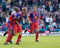 Photo: Daniel Hambury.<br />Crystal Palace v Burnley. Coca Cola Championship. 26/08/2006.<br />Palace's James Scrowcroft (centre) celebrates his goal. 2-2.