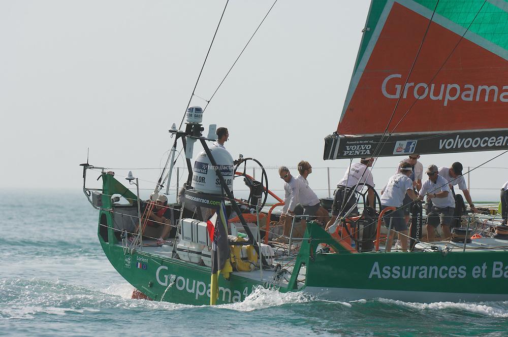 13.01.2012, Abu Dhabi. Volvo Ocean Race, boat of groupama sailing team, 2nd in abu dhabi inport race
