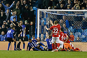 A goalmouth scramble in the Middlesbrough box during the EFL Sky Bet Championship match between Sheffield Wednesday and Middlesbrough at Hillsborough, Sheffield, England on 19 October 2018.