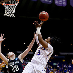 Mar 24, 2013; Baton Rouge, LA, USA; LSU Tigers guard Bianca Lutley (3) shoots over Green Bay Phoenix guard Adrian Ritchie (13) in the first half of the first round of the 2013 NCAA womens basketball tournament at the Pete Maravich Assembly Center.  Mandatory Credit: Derick E. Hingle-USA TODAY Sports