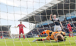 Raith Rovers keeper Lee Robinson can's save Falkirk's Conor McGrandles goal.<br /> Falkirk 2 v 1 Raith Rovers, Scottish Championship game played today at The Falkirk Stadium.<br /> © Michael Schofield.