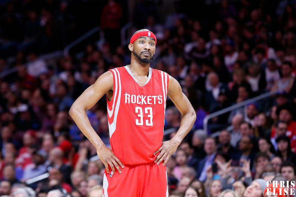 11 February 2015: Houston Rockets guard Corey Brewer (33) rests during the Los Angeles Clippers 110-95 victory over the Houston Rockets, at the Staples Center, Los Angeles, California, USA.