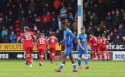 Ivan Toney of Peterborough United cuts a dejected figure as Walsall celebrate scoring - Mandatory by-line: Joe Dent/JMP - 27/04/2019 - FOOTBALL - Banks's Stadium - Walsall, England - Walsall v Peterborough United - Sky Bet League One