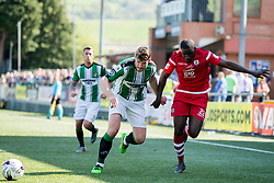 NEWTOWN, WALES - Sunday, May 6, 2018: Michael Baker of Conahs Quay Nomads and Declan Walker of Aberystwyth Town during the FAW Welsh Cup Final between Aberystwyth Town and Connahs Quay Nomads at Latham Park. (Pic by Paul Greenwood/Propaganda)