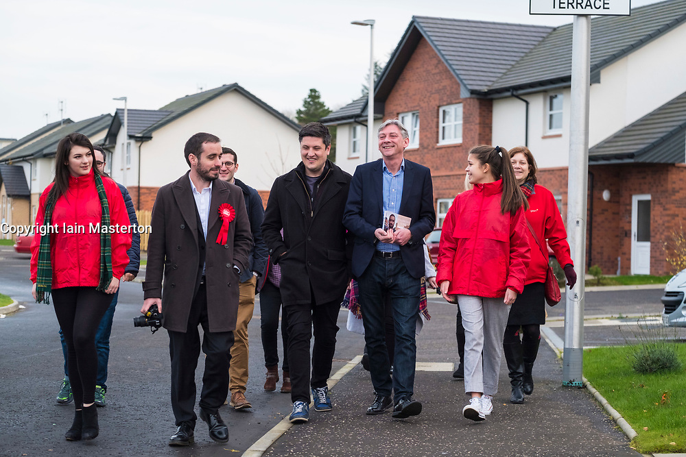 Rutherglen, Scotland, United Kingdom. 19 November, 2017. Scottish Labour Party MSPs, MPs and activists celebrate with their new Leader  with Richard Leonard on a walkabout at Fernhill Community Centre in Rutherglen. Richard Leonard beat fellow MSP Anas Anwar for the Leadership.