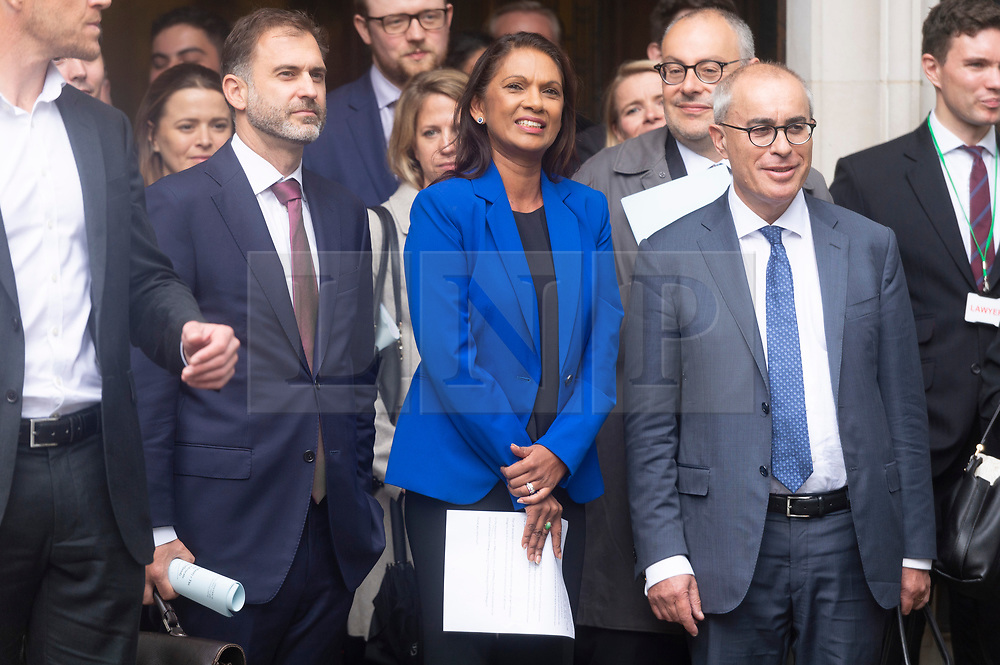 © Licensed to London News Pictures. 24/09/2019. London, UK.  British pro-remain campaigner Gina Miller makes a statement outside the Supreme Court after it had ruled prorogation by the British government was unlawful. Photo credit: Ray Tang/LNP