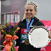 Charlotte Purdue 1st place winner of the elite race at The Vitality Big Half 2019 on 10 March 2019, London, UK.