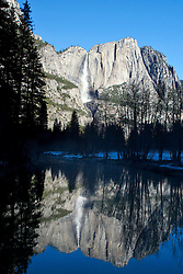 Yosemite Falls reflected into the Merced River, Yosemite National Park, California, United States of America