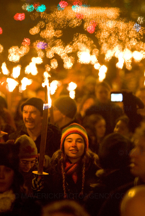 Edinburgh kicked off its Hogmanay celebrations with thousands of people joining in a torchlight procession creating a dramatic ?river of fire? through the city center, Edinburgh, Scotland, UK - 29th December 2008.  The revellers gathered for the event finale for the burning of a huge Lion Rampant on top of Calton Hill..29/12/2008.Picture Michael Hughes/Maverick