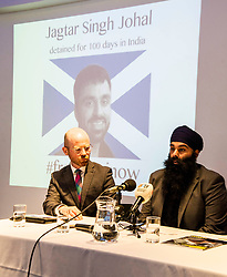 "Pictured: Martin Docherty-Hughes, SNP, MSP for West Dumbartonshire and Gurpreet Singh Johal, Jaggi's brother.<br /> <br /> This week marks 100 days since the arrest of Jagtar Singh Johal, a Scottish Sikh from Dumbarton who has been held by Indian police without charge since 4 November 2017.  The arrest came two weeks after Jagtar, also known as 'Jaggi"" travelled to india from Scotland for his wedding.<br /> <br /> <br /> Ger Harley 