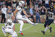 WEST LAFAYETTE, IN - SEPTEMBER 15: Tucker McCann #19 of the Missouri Tigers kicks a field during the game against the Purdue Boilermakers at Ross-Ade Stadium on September 15, 2018 in West Lafayette, Indiana. (Photo by Michael Hickey/Getty Images) *** Local Caption *** Tucker McCann NCAA Football - Purdue Boilermakers vs Missouri Tigers at Ross-Ade Stadium in West Lafayette, Indiana. Sports photographer by Michael Hickey