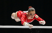 Aliya Mustafina of Russia competes on the Uneven Bars during the women's all around final at the Artistic Gymnastics World Championships in Antwerp, Belgium, 04 October 2013.