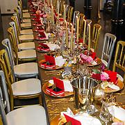 NLD/Amsterdam/20120905 - Lancering sieradenlijn Gassan Diamonds en Danie Bles gepresenteerd aan Sylvie van der Vaart, gedekte tafel