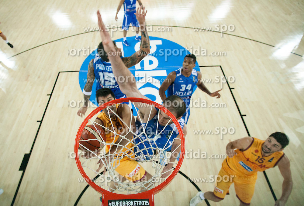 Vojdan Stojanovski of Macedonia vs Kostas Koufos of Greece during basketball match between FYR of Macedonia and Greece at Day 1 in Group C of FIBA Europe Eurobasket 2015, on September 5, 2015, in Arena Zagreb, Croatia. Photo by Vid Ponikvar / Sportida