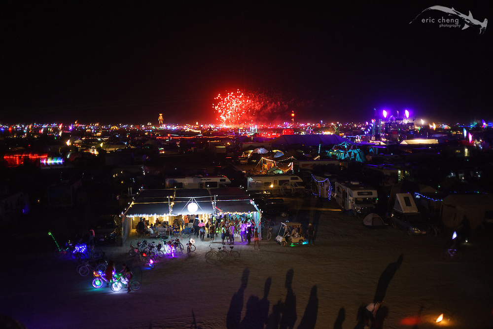 Vines Without Borders camp, viewed from the death trap of a structure across the street from us. Burning Man 2014.