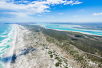 Aerial view of the sixteen mile beach and the Langebaan Lagoon within the West Coast National Park, Western Cape, South Africa