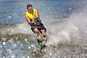 John Roemer water skiing on the Fox River in De Pere, Wisconsin.  Mike Roemer Photo