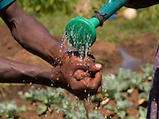 Banga Bera, 40, washes his hands after working in the fields on his farm in Boreda, Ethiopia.