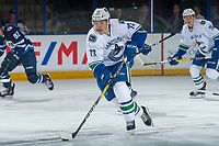 PENTICTON, CANADA - SEPTEMBER 8: Alexis D'Aoust #73 of Vancouver Canucks skates with the puck against the Winnipeg Jets on September 8, 2017 at the South Okanagan Event Centre in Penticton, British Columbia, Canada.  (Photo by Marissa Baecker/Shoot the Breeze)  *** Local Caption ***