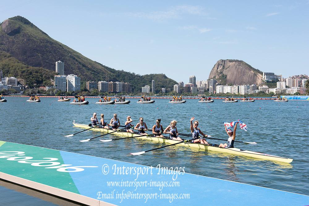 Rio de Janeiro. BRAZIL.  GBR W8+, GBR W8+. Katie<br /> GREVES, Melanie  WILSON, Frances HOUGHTON, Polly  SWANN,  Jessica EDDIE,  Olivia CARNEGIE-BROWN, Karen BENNETT, Zoe LEE and  Zoe DE TOLEDO, 2016 Olympic Rowing Regatta. Lagoa Stadium,<br /> Copacabana,  &ldquo;Olympic Summer Games&rdquo;<br /> Rodrigo de Freitas Lagoon, Lagoa.   Saturday  13/08/2016 <br /> <br /> [Mandatory Credit; Peter SPURRIER/Intersport Images]