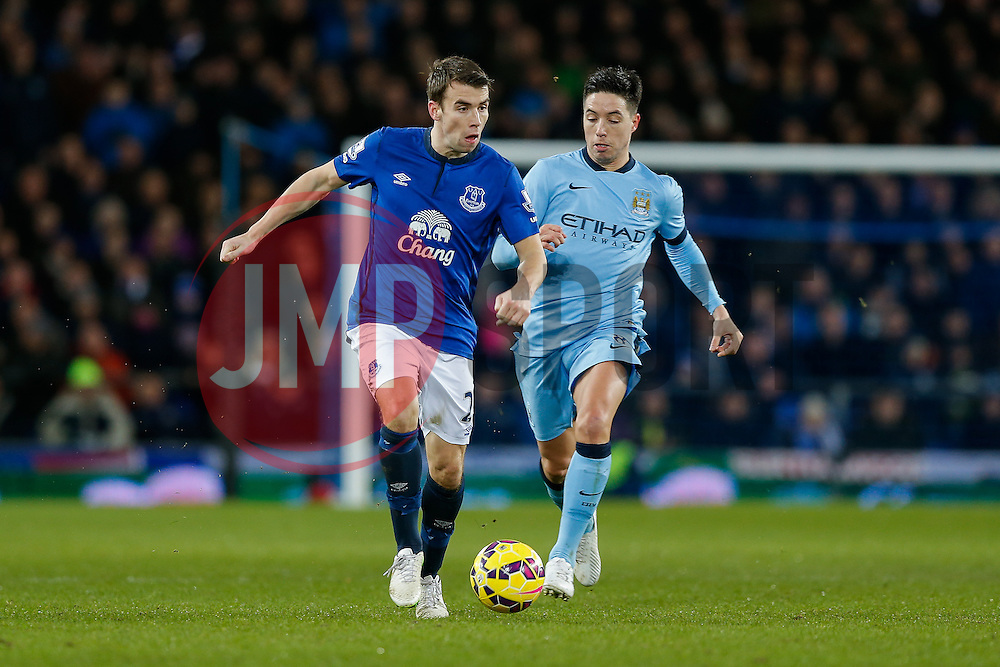 Seamus Coleman of Everton is challenged by Samir Nasri of Manchester City - Photo mandatory by-line: Rogan Thomson/JMP - 07966 386802 - 10/01/2015 - SPORT - FOOTBALL - Liverpool, England - Goodison Park - Everton v Manchester City - Barclays Premier League.
