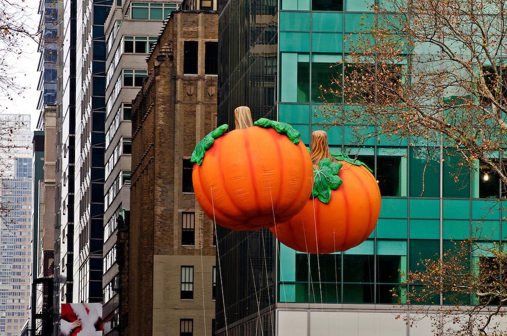 New York City, New York, Bryant Park, Ice Skating, Macy's Thanksgiving Day Parade, floats, Pumpkins
