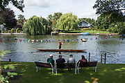 """Maidenhead, United Kingdom.  """"Single"""", with spectators looking on, """"Thames Punting Club Regatta"""", Bray Reach.<br /> 12:02:13 Sunday  06/08/2017<br /> <br /> [Mandatory Credit. Peter SPURRIER Intersport Images}.<br /> <br /> LEICA Q (Typ 116) 28mm  f1.7   1/6400 /sec    100 ISO River Thames, .......... Summer, Sport, Sunny, Bright, Blue Skies, Skilful,"""