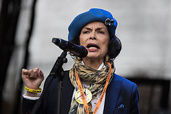 © Licensed to London News Pictures . 12/11/2016 . Manchester , UK . BIANCA JAGGER speaks at a rally in Castlefield . Approximately 2000 people march and rally against Fracking in Manchester City Centre . Photo credit : Joel Goodman/LNP