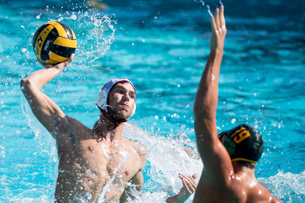 A Saddlebrook water polo player shoots the ball during a match at Saddle Brooks College in Mission Viejo, Calif., on Friday November 4, 2016. (© Kurt Stoffer/Sport Shooter Academy 2016)