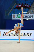 Kosoulieva Angela of Poland competes during the rhythmic gymnastics individual hoop qualification of the World Cup at Adriatic Arena on April 1, 2016 in Pesaro, Italy.<br />