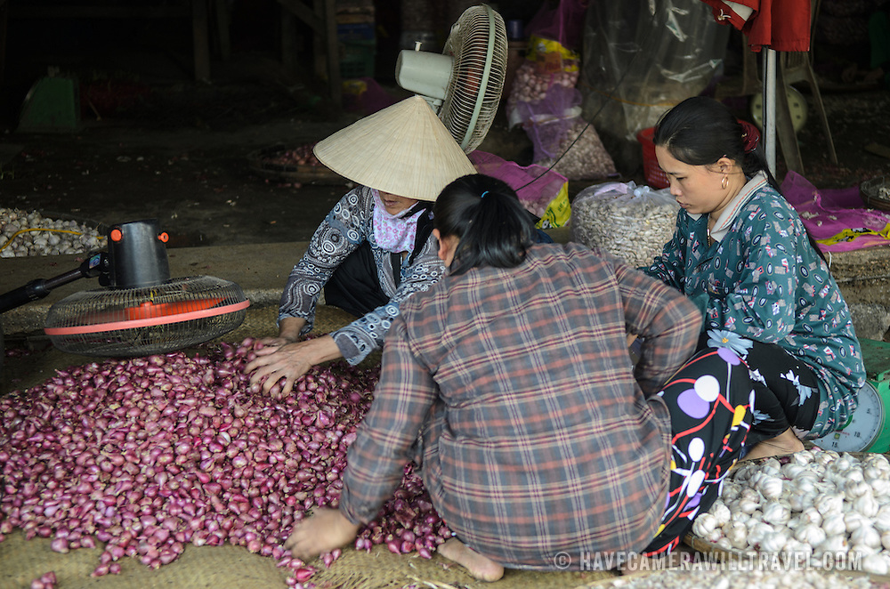 Shallots and garlic for sale at Cho Dong Ba, the main city market in Hue, Vietnam.