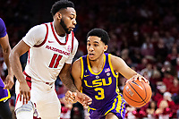 FAYETTEVILLE, AR - JANUARY 12:  Tremont Waters #3 of the LSU Tigers looks to drive against Keyshawn Embery-Simpson #11 of the Arkansas Razorbacks at Bud Walton Arena on January 12, 2019 in Fayetteville, Arkansas.  The Tigers defeated the Razorbacks 94-88.  (Photo by Wesley Hitt/Getty Images) *** Local Caption *** Tremont Waters; Keyshawn Embery-Simpson