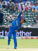 Mujeeb Ur Rahman of Afghanistan bowling during the ICC Cricket World Cup 2019 match between Afghanistan and Australia at the Bristol County Ground, Bristol, United Kingdom on 1 June 2019.