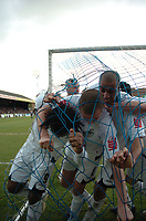 Photo: Tony Oudot/Richard Lane Photography. <br /> Southend United v Swansea City. Coca-Cola League One. 21/03/2008. <br /> Jason Scotland of Swansea celebrates his goal bringing the net down with team mates Ferrie Bodde and Darren Pratley
