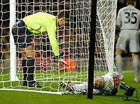 Photo: Ed Godden.<br /> Arsenal v CSKA Moscow. UEFA Champions League, Group G. 01/11/2006. Arsenal's Robin Van Persie lies injured in the CSKA Moscow goal as Referee Michel Lubos watches on.