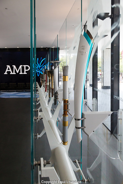 Open Sydney presented by Sydney Living Museuems. This event every year allows Sydneysiders to visit 40 of the city's most significant buildings and spaces across the CBD. Olympic Torch Collection, AMP Reception, Sydney.