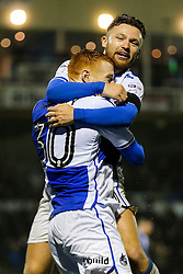 Rory Gaffney of Bristol Rovers celebrates with Matt Taylor after scoring a goal during extra time to make it 3-2 - Rogan Thomson/JMP - 15/11/2016 - FOOTBALL - Memorial Stadium - Bristol, England - Bristol Rovers v Crawley Town - FA Cup First Round Replay.