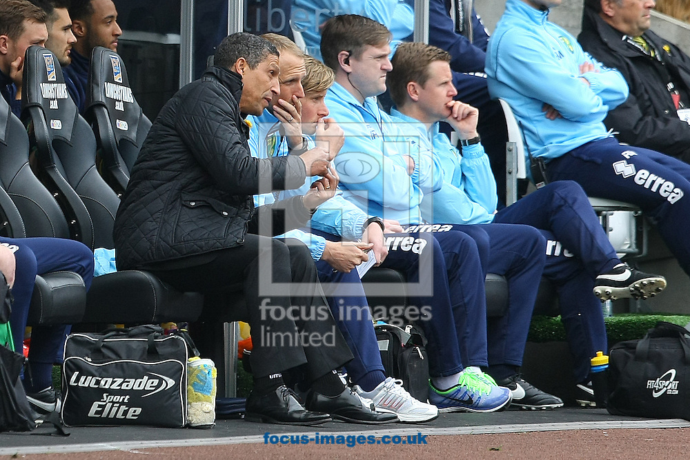 Norwich Manager Chris Hughton and Norwich First Team Coach Paul Trollope during the Barclays Premier League match at the Liberty Stadium, Swansea<br /> Picture by Paul Chesterton/Focus Images Ltd +44 7904 640267<br /> 29/03/2014