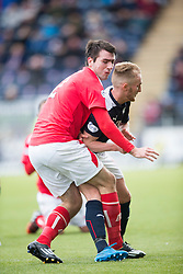 Brechin City&rsquo;s Paul McLean tackled by Falkirk's Craig Sibbald. <br /> Falkirk 2 v 1 Brechin City, Scottish Cup fifth round game played today at The Falkirk Stadium.