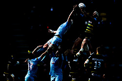 Courtney Lawes of Northampton Saints challenges GJ van Velze of Worcester Warriors to the ball at a line out - Mandatory by-line: Robbie Stephenson/JMP - 04/05/2019 - RUGBY - Franklin's Gardens - Northampton, England - Northampton Saints v Worcester Warriors - Gallagher Premiership Rugby