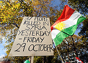 "35559258© Licensed to London News Pictures. 29/10/2011. London, UK.  A sign claiming 37 people were killed on the 29th Oct. Amnesty International join Syrians in the UK for a ""N0 More Blood - No More Fear"" march and rally in Paddington Green, London, today 29th October 2011. Activists claim  Syrian security forces opened fire on Friday on protesters and hunted them down in house-to-house raids, killing about 40 people in the deadliest day in weeks in the country's 7-month-old uprising. Photo: Stephen Simpson/LNP"