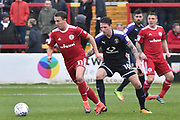Accrington Stanley's Sean McConville(11) and Luton Town Defender, Glen Rea (16) during the EFL Sky Bet League 2 match between Accrington Stanley and Luton Town at the Fraser Eagle Stadium, Accrington, England on 7 October 2017. Photo by Mark Pollitt.